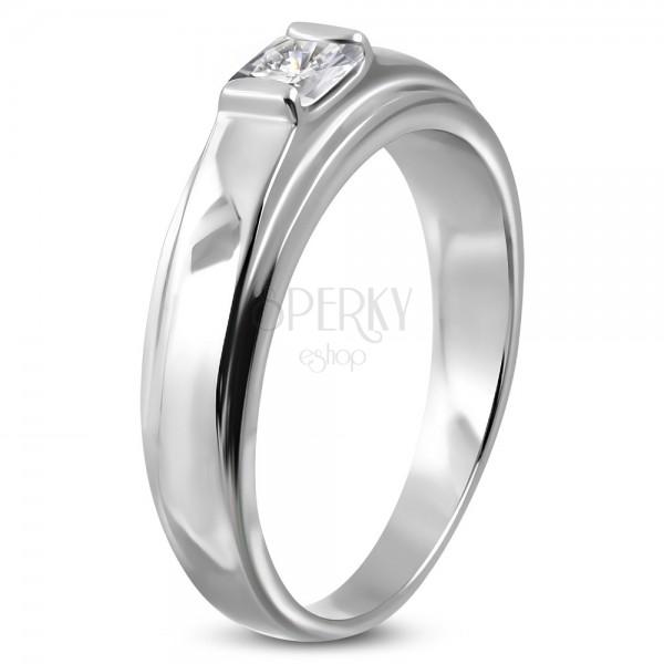 Zaręczynowy pierścionek ze stali chirurgicznej, kwadratowa cyrkonia na podwyższonym tle
