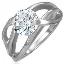 Zaręczynowy pierścionek z poprzecznym uchwytem i okrągłą bezbarwną cyrkonią, stal 316L
