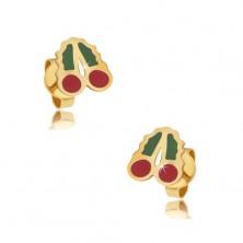 Złote kolczyki wkręty 375 - emaliowane czerwono-zielone wisienki