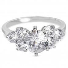 Zaręczynowy pierścionek ze stali 316L - błyszczące okrągłe cyrkonie bezbarwnego koloru