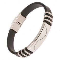 Czarna gumowa bransoletka, stalowa wstawka z falą