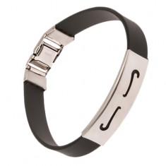 """Gumowa bransoletka w czarnym kolorze, stalowa wstawka z """"S"""" wycięciami"""