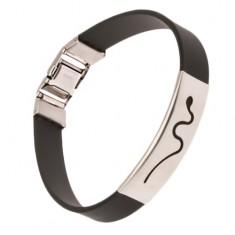 Czarna gumowa bransoletka - wstawka z wyciętym wężem