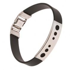 Silikonowa czarna bransoletka na rękę, tabliczka z okrągłymi wycięciami