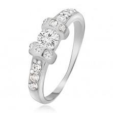 Srebrny pierścionek 925 - dwie wypukłe obręcze, przeźroczysty okrągły kamyczek