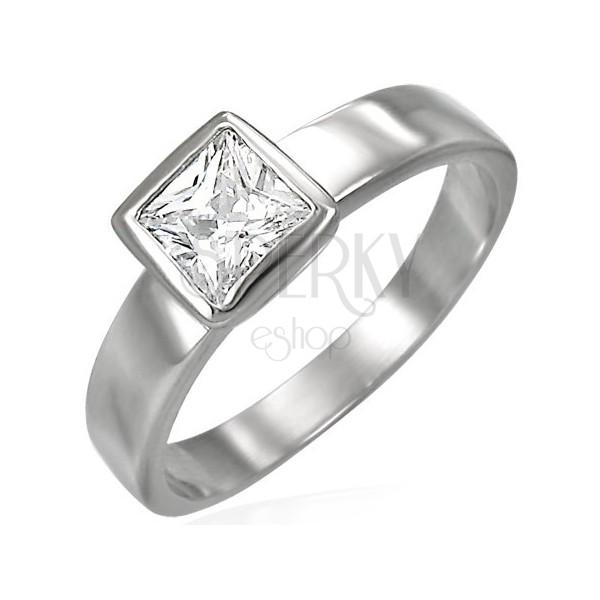 Stalowy pierścionek srebrnego koloru, bezbarwna kwadratowa cyrkonia w oprawie