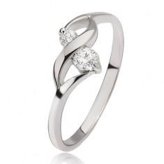 Srebrny pierścionek - lśniąca fala, dwa bezbarwne okrągłe kamyczki