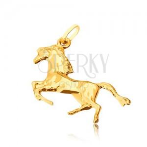 Złoty wisiorek 585 - lśniący koń stojący na tylnych nogach
