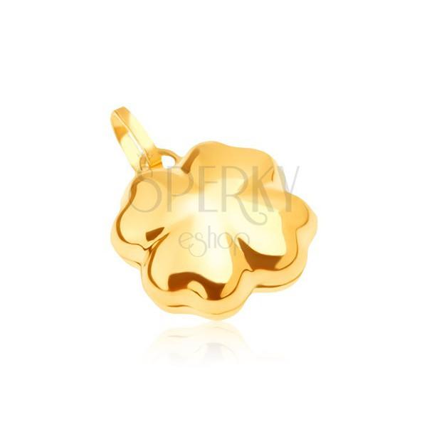 Lśniący złoty wisiorek 585 - trójwymiarowa czterolistna koniczynka na szczęście