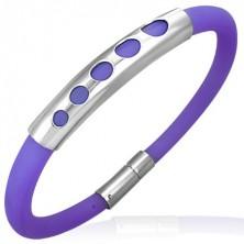 Fioletowa gumowa bransoletka - wzór pięciu małych kółeczek, metalowy wałek