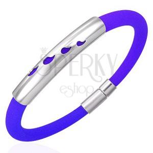 Gumowa bransoletka ze stalową ozdobą - krople, niebieska