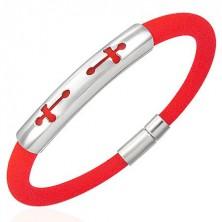 Okrągła silikonowa bransoletka - 2 krzyże, pomarańczowa