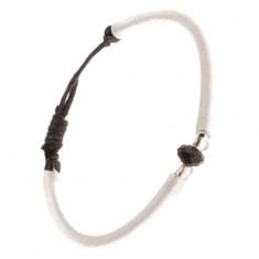 Nylonowa biała bransoletka, czarny kamyczek i szklane przeźroczyste koraliki