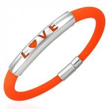 Pomarańczowa silikonowa bransoletka- LOVE