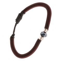 Nylonowa bransoletka z kamyczkiem w czarnym kolorze, koraliki
