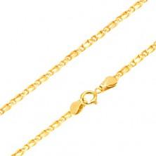 Złoty łańcuszek 585 - połączone lśniące owalne ogniwa, wyrównane, 450 mm