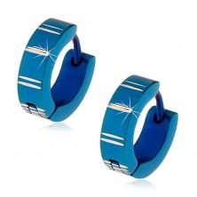 Stalowe kolczyki z kajdankowym zapięciem, niebieskie krążki z nacięciami