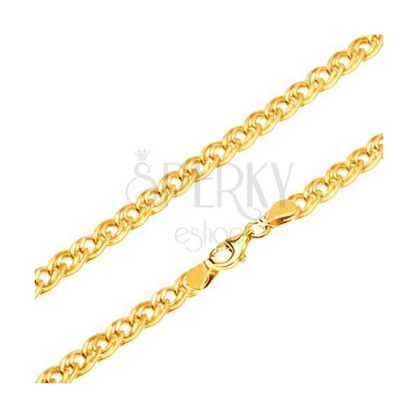 Złoty łańcuszek 585 - błyszczące elipsowe większe i mniejsze ogniwo, 550 mm