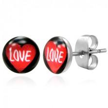 Stalowe kolczyki serce z napisem LOVE