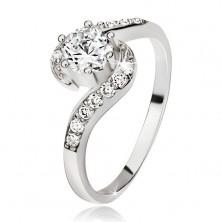 Srebrny pierścionek 925, pofalowane cyrkoniowe ramiona, okrągły przezroczysty kamyczek