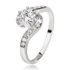 Srebrny damski pierścionek, cyrkoniowe fale, okrągły bezbarwny kamyczek