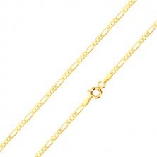 Złoty łańcuszek 585 - trzy małe ogniwa i jedno podłużne, wysoki połysk, 500 mm