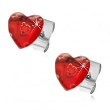 Stalowe kolczyki serce z rozciągniętymi kwiatkami