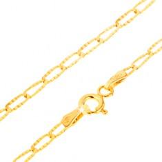 Złota bransoletka 585 - cienkie podłużne ogniwa, ozdobne rowki, 200 mm