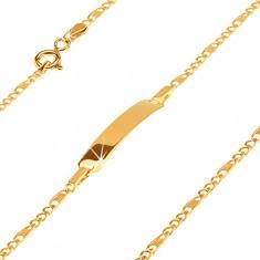 Złota bransoletka 585 z płytką - trzy owalne ogniwa i ogniwo z kratką, 165 mm