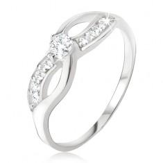 Srebrny pierścionek - symbol nieskończoności, cyrkoniowa linia, okrągły kamyczek