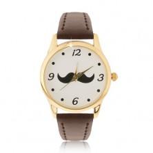 Analógové hodinky v zlatom prevedení, čierne fúziky, hnedý remienok