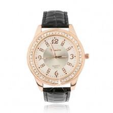 Stalowy zegarek w złotoróżowym kolorze - bladoróżowy cyferblat, cyrkonie