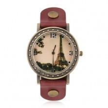 Analógové hodinky matnej zlatej farby, obrázok Eiffelovky, červený remienok