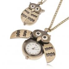 Retiazka s hodinkami matnej zlatej farby - dvojfarebná sovička
