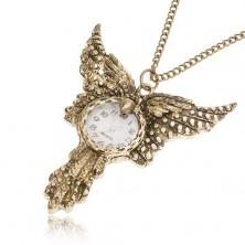 Retiazka s hodinkami - ozdobne patinovaný vták fénix