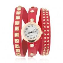 Analógové hodinky, zlatoružové, červený vybíjaný remienok, zirkóny