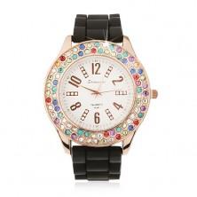 Analógové hodinky, zlatoružové, farebné zirkóny, čierny silikónový náramok