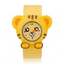 Náramkové hodinky žltej farby - podobizeň tigríka, rolovací náramok
