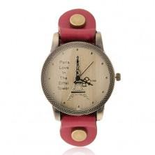 Analógové hodinky matnej zlatej farby, zlatá Eiffelovka, červený remienok