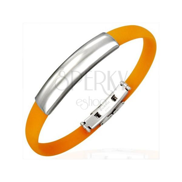 Pomarańczowa gumowa bransoletka - gładka wstawka