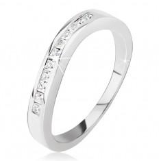 Srebrny pierścionek - lekko pofalowany, drobne kwadratowe cyrkonie