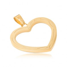 Wisiorek ze stali chirurgicznej w złotym kolorze, grawerowany zarys serca