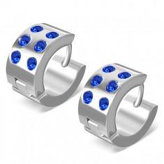 Okrągłe kolczyki ze stali chirurgicznej - lśniące srebrne, niebieskie cyrkonie