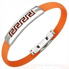 Silikonowa, pomarańczowa bransoletka - symbol grecki