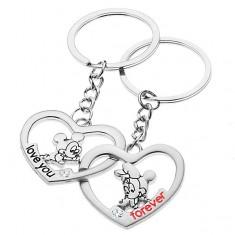 Stalowe breloczki do kluczy dla dwojga - Miki i Minnie w sercach