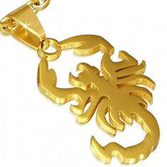 Stalowa zawieszka, lśniący złoty skorpion
