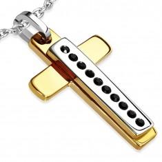 Zawieszka ze stali - złoty krzyż, srebrny prostokąt z czarnymi kamyczkami
