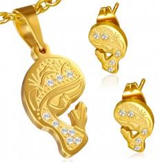 Złoty zestaw ze stali - wisiorek i kolczyki, modląca się Madonna, cyrkonie