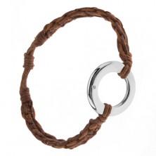 Bransoletka z kasztanowo brązowych i cynamonowych sznurków, okrągła zawieszka