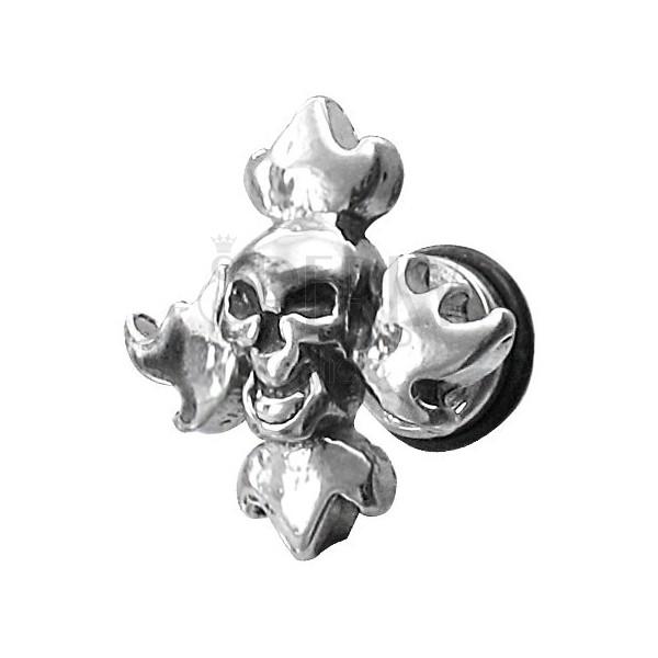 Fałszywy piercing czaszka w płomieniach